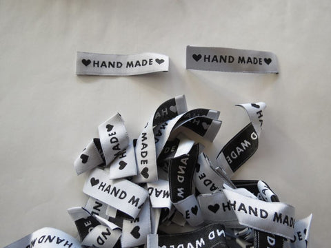 "10 White ""Hand Made"" between 2 Black Hearts Labels 65 x 15mm"