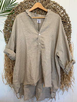 megan shirt - natural linen