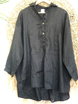megan shirt - black linen