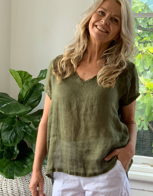 ellie top v neck - army linen gauze