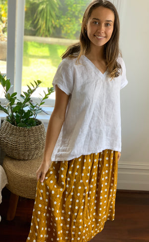 ellie top v neck-white linen