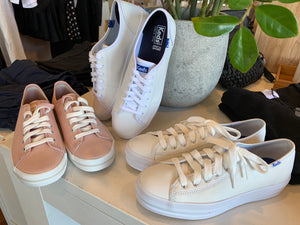 keds kickstart white leather sneakers