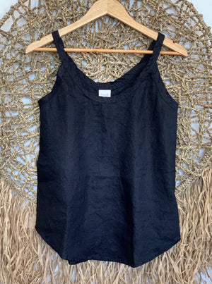 tilly linen tank- black