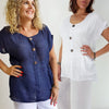 3 button short sleeve top, Womens Top, Plus Size Clothing
