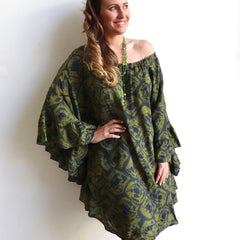 Aurora Ruffle Kaftan - Cool summer knee length dress or layer as a shirt. Hand dyed and handmade one-of-a-kind