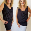 Nella Cowl Neck Jersey Top Mini Dress, Womens Dress, Plus Size Clothing, Womens Black Dress