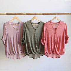 Foldover Blouse, Women's Blouse, Plus Size.
