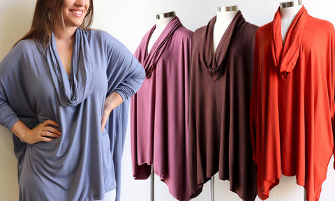 Glider Poncho Tee, Women's Tee, Plus Size Clothing, Stretch Tee, Winter Tee