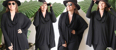 The Glider Poncho Tee, Women's, Black.