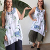 Gone Swishing - Sleeveless Layer Top Watercolour, Womens Top, Plus Size Clothing