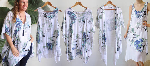 Watercolour Print, Here Comes The Sun, Gone Swishing Top, Summer In The City Kaftan, Penny Lane Dress.