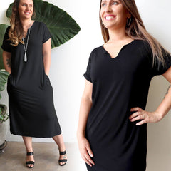 In The Moment T-shirt Maxi Dress. Ethically Handmade in luxe bamboo spandex fabric.
