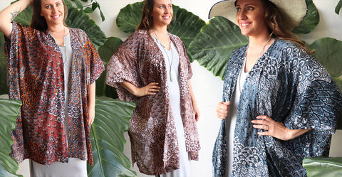 Women's Kimono Wrap - Paisley Peacock. Made in a lightly textured rayon to fit all sizes.
