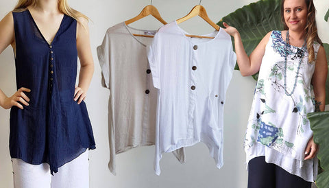 Coconut Summer Tank, 3 Button Blouse, Gone Swishing Tunics, Watercolour, Women's Tops.