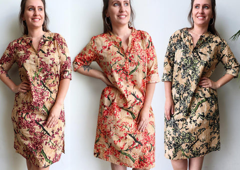 Long Kurta Tunic Dress - Apple Blossom, Women's Dress, Plus Size.