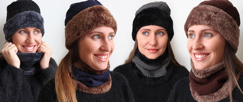 Minky Hat + Neck Warmer set, Women's Hat, Winter Hat,
