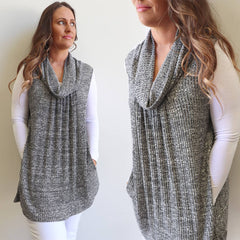 Monaro Winter Knit women's Tunic made in a Poly Cotton Blend with Cowl Neck. Silver.