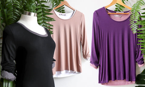 Polished Cotton Long Sleeve Tees, Women's T-Shirt, Plus Size Clothing, Layering Tee