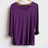 Polished cotton Long Sleeve Tee, Aubergine, Women's Tee, Plus Size Clothing