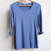 Polished Cotton Long Sleeve Tee, Denim Blue, Women's Tee, Plus Size Clothing