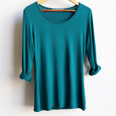 Polished Cotton Long Sleeve Tee, Emerald Green Shirt, Women's Tee, Plus Size Clothing