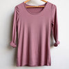 Polished Cotton Long Sleeve Tee, Heather, Women's Tee, Plus Size Clothing