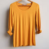 Polished Cotton Long Sleeve Tee, Mustard Yellow Tee, Women's Tee, Plus Size Clothing