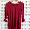 Polished Cotton Long Sleeve Tee, Women's Tee, Warm Berry Tee, Layering Tee, Plus Size Clothing