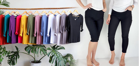 Polished Cotton Layering t-shirts, Capri Pants Double Stretch