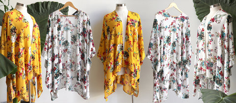 Sasaki Kimono in a floral print, split front kaftan style, all-size fit, available in Sunshine Yellow or Vintage White.