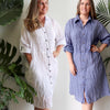 Shirtmaker Beach Dress, Cotton Dress, Womens Plus Size