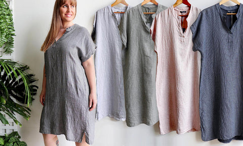 Tuscany Linen Tunic Dress, Purolino Linen, Women's Dress, Italian Linen, Plus Size Clothing