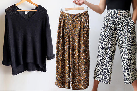 V-Neck Knit Sweater, Culotte Pants Animal Print, Women's Pants, Women's Sweater, Plus Size Clothing
