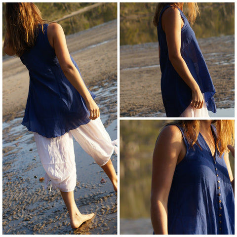 Cotton v-neck button up flowing tunic top.