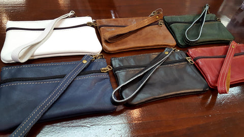 Genuine handmade leather purse in white, navy, black, red, tan & green.