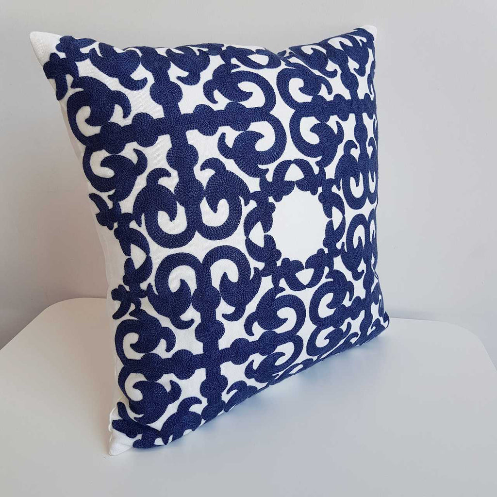 Cotton Embroidery Cushion Cover / Double Bay Navy Blue Symmetrical Pattern.
