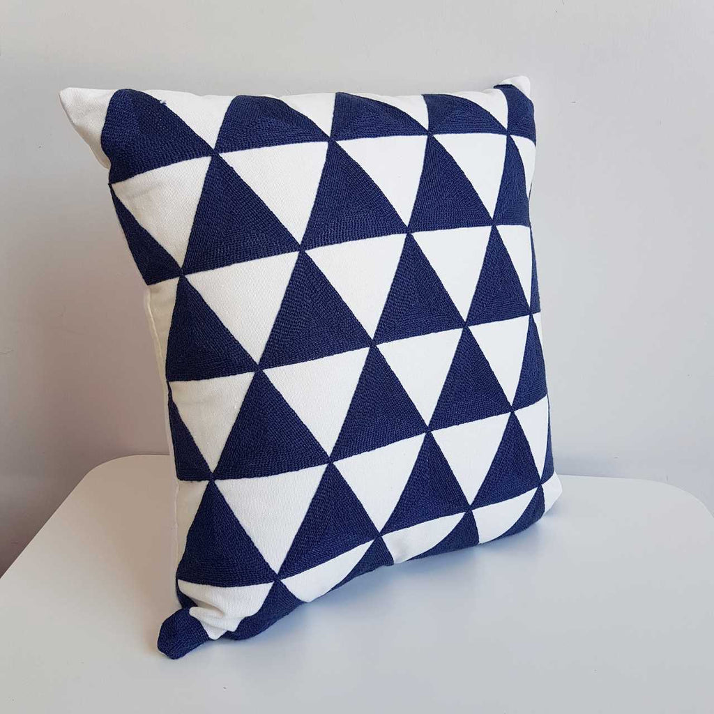Cotton Embroidery Cushion Cover / Coogee Navy Blue Triangle Print
