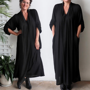 Apres Spa Kaftan Maxi Dress in classic black.. Double view