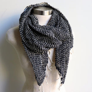 Winter scarf handmade with natural fibre.  Black + Cream.