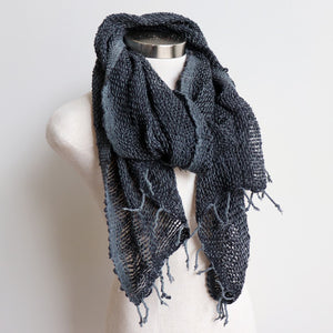 Winter scarf handmade with natural fibre. Black + Silver