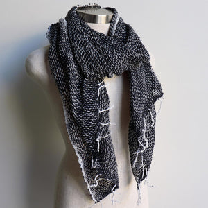 Winter scarf handmade with natural fibre.  Black + White.