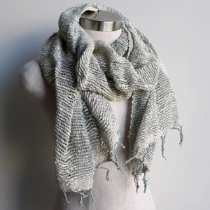 Winter scarf handmade with natural fibre.  Cream & Silver.