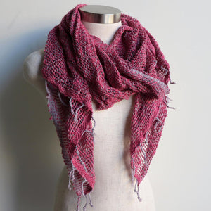 Winter scarf handmade with natural fibre.  Fuscia Pink & Silver.