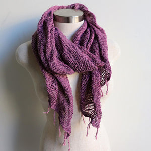 Winter scarf handmade with natural fibre.  Mulberry.