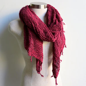 Winter scarf handmade with natural fibre.  Raspberry.