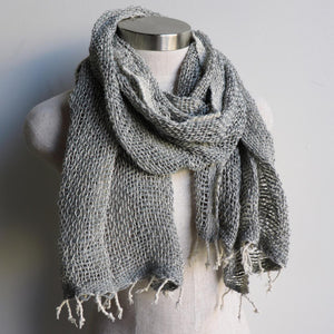 Winter scarf handmade with natural fibre.  Silver + Cream.