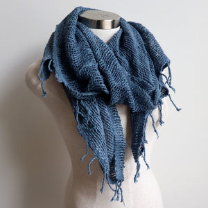 Winter scarf handmade with natural fibre.  Denim Blues.