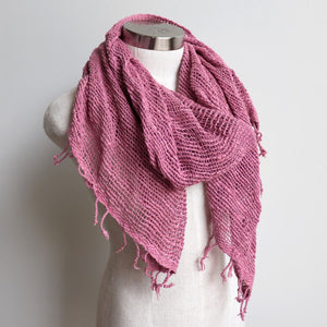 Winter scarf handmade with natural fibre.  Heather.