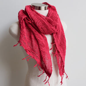 Winter scarf handmade with natural fibre.  Watermelon.