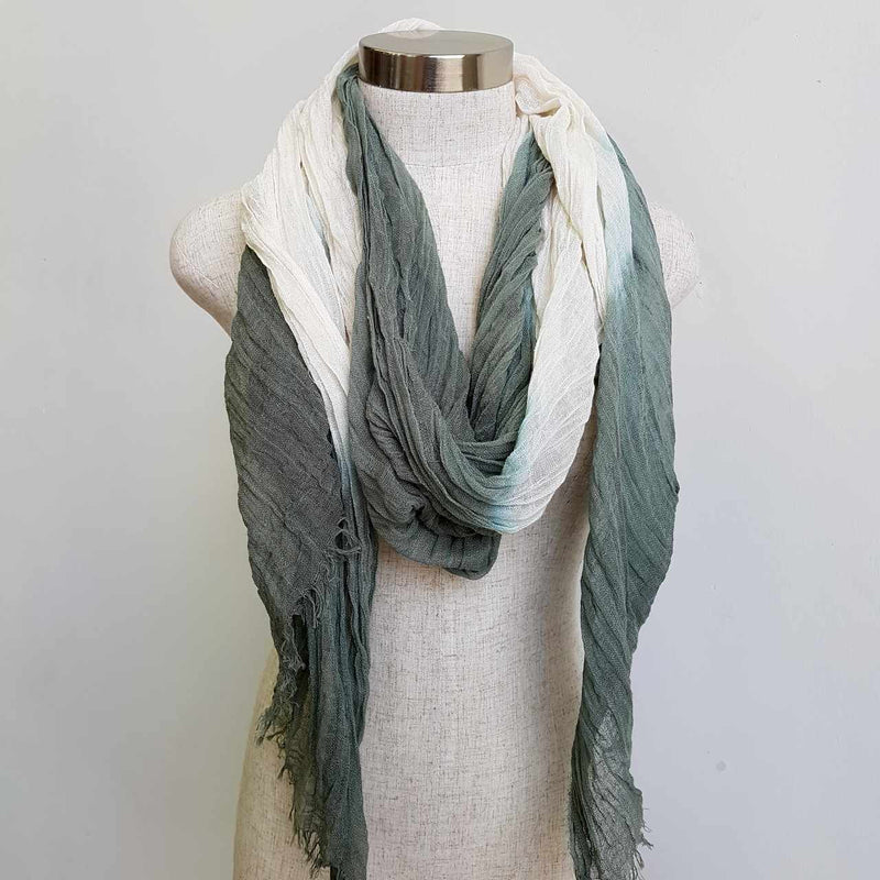 Karma cotton natural ethnic scarf - sage green
